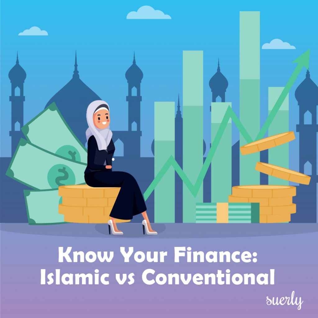 illustration showing a muslim woman sitting of coins with Islamic building background.